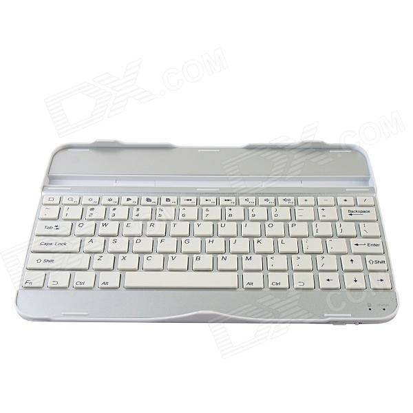 Rechargeable 82-Key Bluetooth V3.0 Wireless Keyboard for Samsung Galaxy Tab 3 P5200 - White + Silver laptop keyboard for acer silver without frame bulgaria bu v 121646ck2 bg aezqs100110