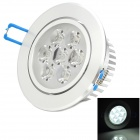 JZ-7W 7W 630lm 6500K 7-LED White Ceiling Light w/ Driver - Silver + White