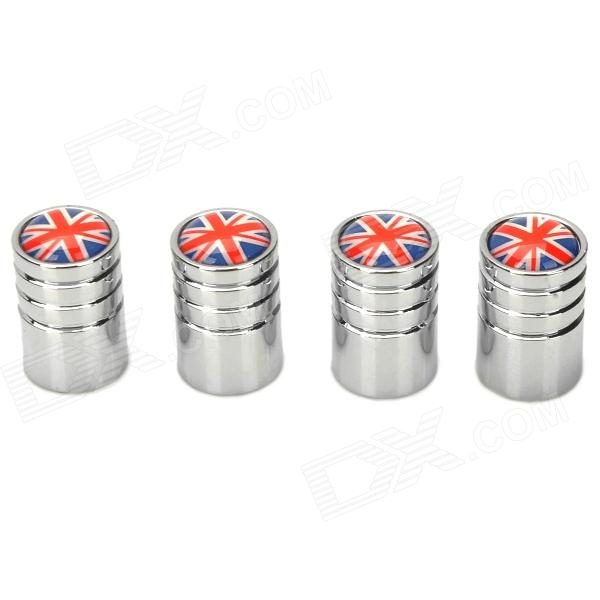 Informyi UK National Flag Style Aluminum Alloy Car Tire Valve Caps - Silver + Red + Blue (4 PCS)