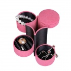 Creative Transformer Lint Texture 3-deck Jewelry Case - Deep Pink