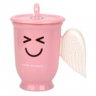 Creative Smiling Face Pattern Wings Style Handle ABS Cup w/ Lid / Spoon - Pink + White (300mL)