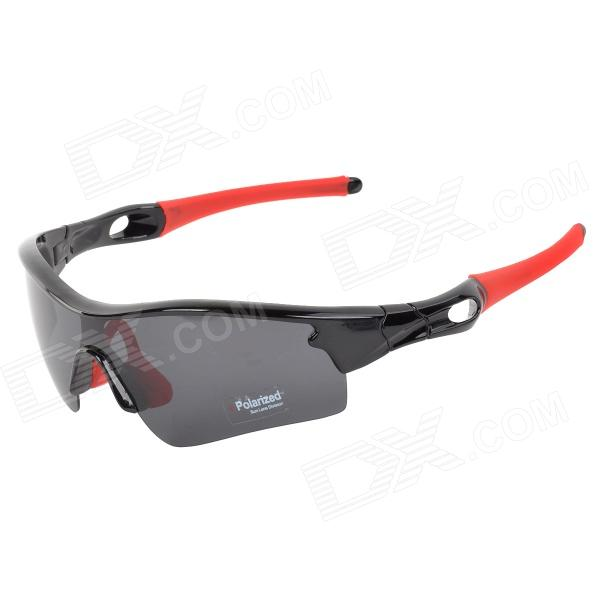 CARSHIRO 9183 Stylish Polarized UV400 Cycling Sunglasses Goggles - Black + Red carshiro 9191 men s stylish uv400 polarized goggles sunglasses black red