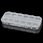 Fashionable 12-in-1 Resin Nail Art Stickers w/ Storage Case - Transparent + Silver