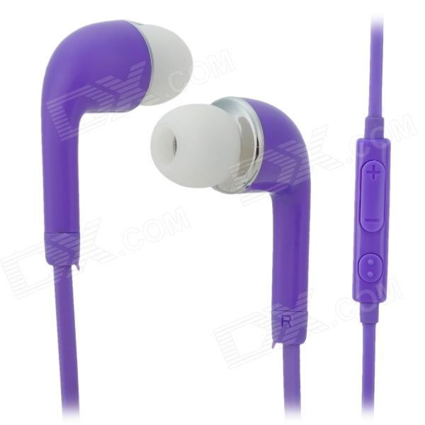 Stylish In-ear Earphone w/ Microphone / Controller for Samsung i9500 / S4 / S3 - Purple fshang q8 in ear 3 5mm earphone with microphone for iphone samsung white