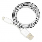 USB Male to Micro USB Nylon Woven Cable for HTC / Samsung - White + Black (100cm)