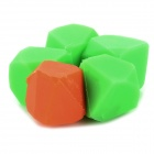 Irregular Polyhedron Style Silicone Shell Refrigerator Magnets - Green + Orange (5 PCS)