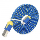 USB Male to Micro USB Male Nylon Woven Data Sync Charging Cable - Blue (100cm)