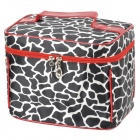 Bodan 219 # Komfortable Stilvolle Leopard Pattern Cosmetic Bag w / Handle - Schwarz + Weiß + Rot