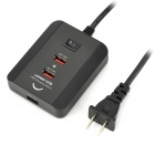 USB Charging Station for Iphone 5 / Iphone 4S / Samsung / HTC / Ipad / Tab - Black (150cm)