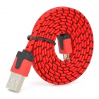 USB Male to Micro USB Male Nylon Woven Data Sync Charging Cable - Red (100cm)