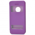 Protective Flip-open Plastic + PU Leather Case for Iphone 5C - Purple