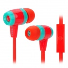KEEKA MIC-103 Stylish Universal 3.5mm Jack Wired In-ear Headset w/ Microphone - Red + Blueish Green