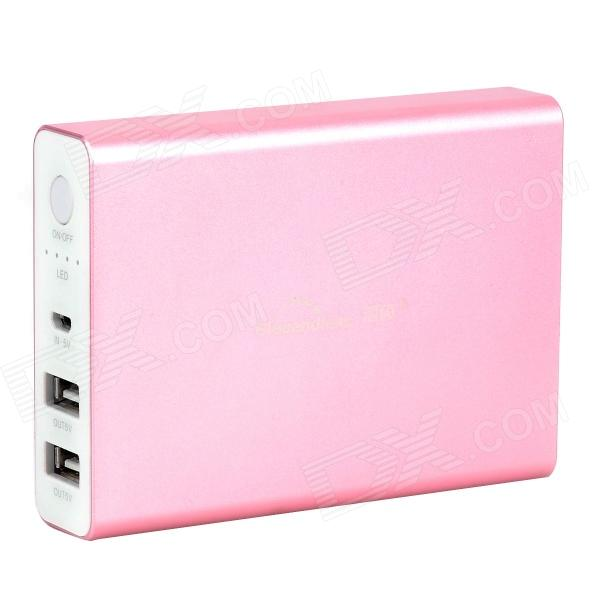Blueendless BS-N5 11200mAh Dual-USB Mobile Power Source for Iphone / Samsung / HTC + More - Pink bp ultra thin 6800mah touch switch dual usb mobile power source for iphone samsung htc