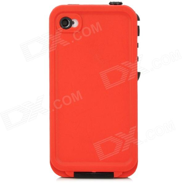Waterproof Protective Plastic Full Body Case for Iphone 4 / 4S - Black + Red ipega pg i6001 waterproof protective pc full body case for iphone 6 black yellow