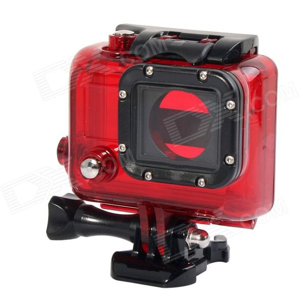 Protective Plastic + Stainless Steel Waterproof Case for GoPro Hero 3 - Red + Black