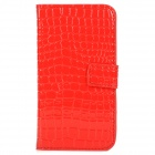 Alligator Pattern Protective PU + Plastic Case w/ Card Slots for Samsung i9500 - Red