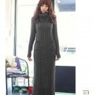 ZZCQ-01 Fashionable Turtle Neck Skinny Knitten Woolen Yarn Dress - Gray