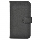 "Stylish Oracle Style Protective PU Case w/ Display Window for 4.9~5.5"" Phone - Black"