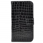 Alligator Pattern Protective  PU + Plastic Case w/ Card Slots for Samsung i9500 - Black