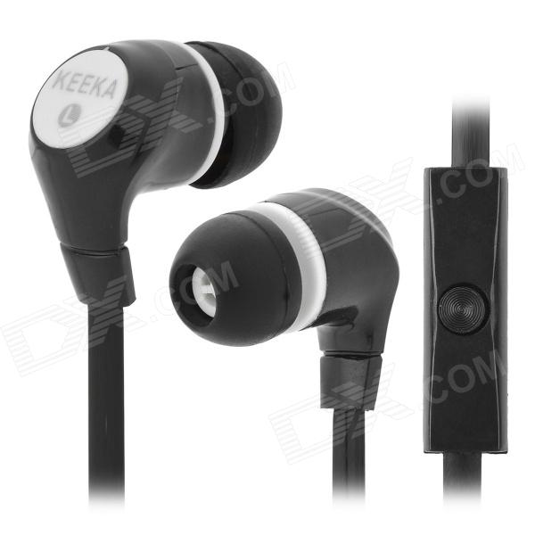 KEEKA MIC-105 Fashion In-Ear Earphone w/ Microphone - Black + White 3 in 1 fish eye macro wide angle clip lens white black