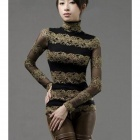GLS-01 Women's Lace Dual-Layer Long-Sleeve Slim Bottoming Shirt - Black + Golden (Size L)