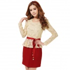 Elegant Women's Lace Long Sleeve Slim Dress - Beige + Red (Size L)