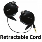 Genuine Sony Earphone with Retractable Cables MDR-Q38LW - Black