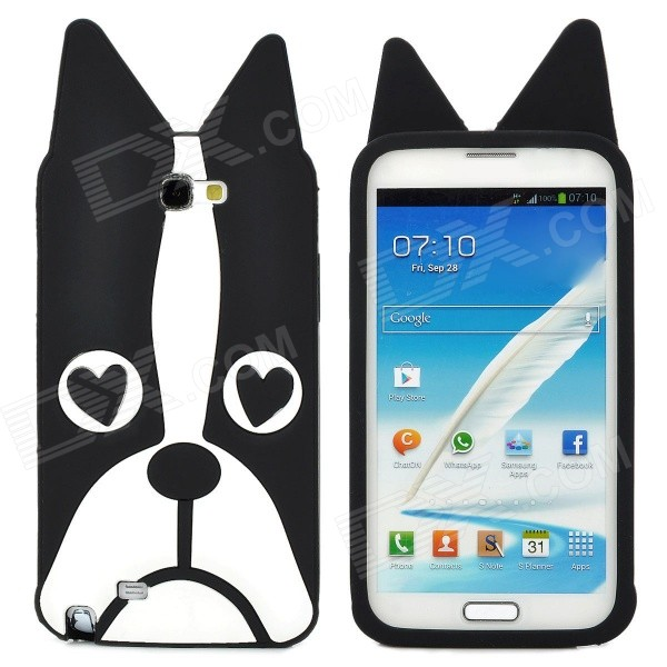 Dog Style Protective Silicone Case for Samsung N7100 - Black + White protective silicone case for nds black
