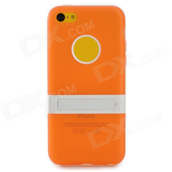 Protective Silicone Back Case Stand for Iphone 5C - Orange + White