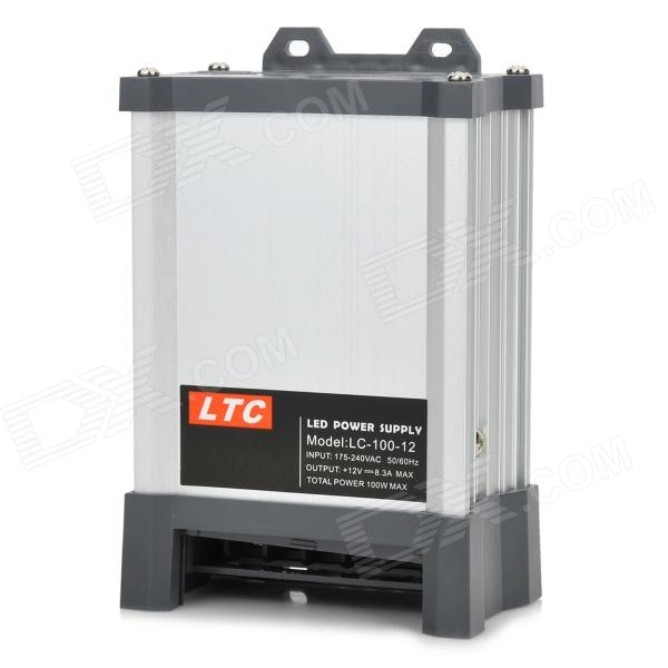 LC100-12 Rainproof 100W AC to DC LED Power Supply Converter - Silver + Grey
