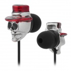 Skull Wearing Hat Style In-Ear Earphone - Black + Silver + Red