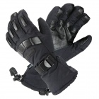 Free Soldier FS-ST19 Sporty Outdoor Full Finger Dacron + Sheep Skin Warm Glove for Skiing - Black