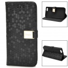 Diamond Pattern Protective PU Leather Case w/ Card Slot for Iphone 5C - Black