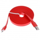Universal Flat Micro USB Male to USB 2.0 Male Data / Sync Charging Cable - Red (300cm)