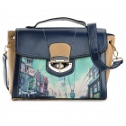 JCVB-01 Fashionable Retro Patterned PU Leather Handbag Satchel - Blue + Beige