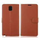 Lichee Pattern Protective PU Leather Case Cover Stand w/ Card Slot for Samsung Galaxy Note 3 - Brown