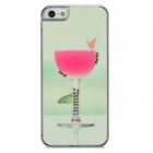 Butterfly + Cup Pattern w/ Rhinestones Protective Plastic Back Case for Iphone 5 - Light Green + Red