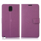 Lichee Pattern Protective PU Leather Case Stand w/ Card Slots for Samsung Galaxy Note 3 - Purple
