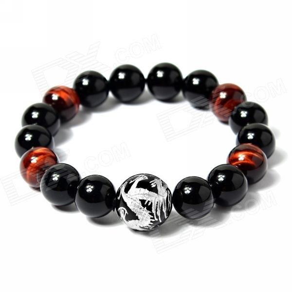eQute BGEM85C1 Natural 12mm Tiger's-eye Black Agate Big Dragon Bead Bracelet - Silver + Black + Red все цены