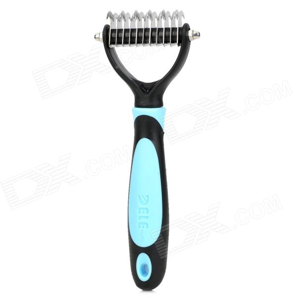 DeLe Professional Dual-Blade Pet's Dog Cat Hair Comb - Blue + Black