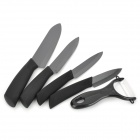 "3"" / 4"" / 5"" / 6"" Zirconia Ceramic Knife + Peeler Set - Black"