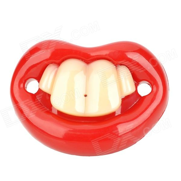 JiaHui A057 Funny Front Two Teeth Style Baby's Nipple Pacifier - Red + White