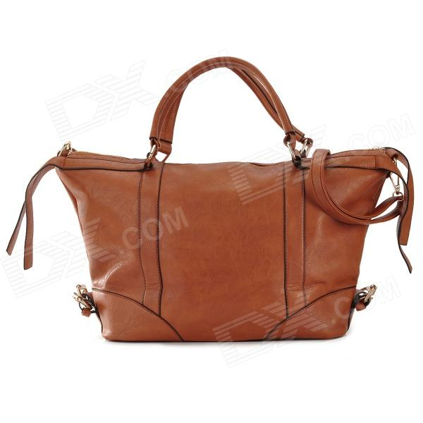 B10-Z2 Woman's Fashionable High Capacity PU Leather Handbag Satchel - Brown
