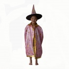Children's Satin Cloak Costume w/ Hat for Halloween - Pink + Golden (Size-L)