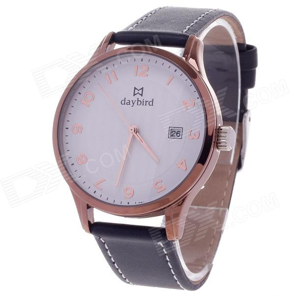 Daybird Women's Quartz Wrist Watch w/ Arabic Numeral Scale / Simple Calendar - Black + Coffee hack