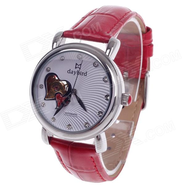 Daybird Vogue Heart-Shaped Hollow out Style Automatic Mechanical Women's Wrist Watch - Red + Silver