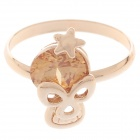 Fashionable Skull Style Ring w/ Shiny Rhinestone for Women - Golden + Yellow (UK Size 19)