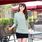 Low Round Neck Women's Sweater Coat Render Sweater - Green