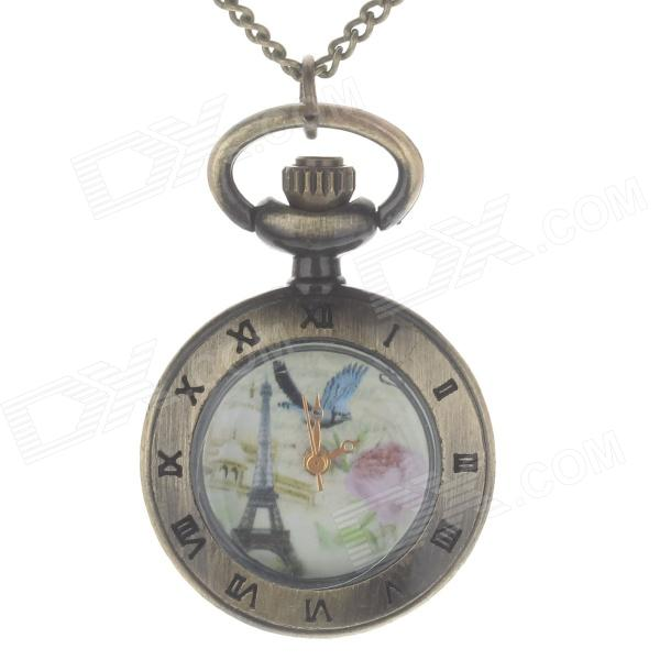 Retro Elegant Quartz Analog Women's Pocket Watch w/ Necklace Chain - Bronze (1 x 377S)