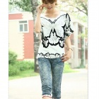 Butterfly Print Women's Short-Sleeve T-shirt - White + Black (Free Size)